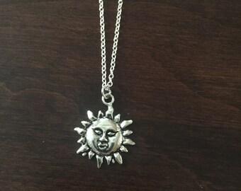Sun Necklace, Sun, Sound Pendant, Silver Sun Necklace, Silver Sun, Sun Jewelry, Silver Sun Jewelry, Jewellery, Necklace, Silver Necklace
