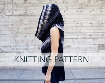 Knitting Pattern // Hooded Poncho Scarf Cowl Chunky Knit // Armor Scarf PATTERN