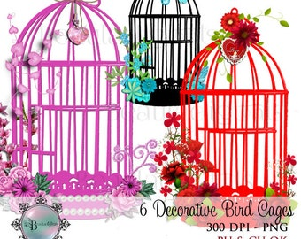 Decorative Birdcages Clip Art Set Flowers Butterfly - Black Cage Pink Cage Aqua Cage  Red Cage  PNG **Commercial Use - Instant download