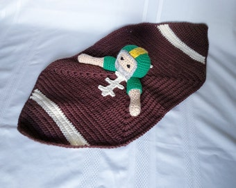 Football Player Lovey/Security Blanket, Green & Yellow Team Colors