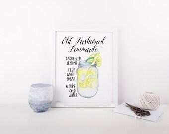 Lemonade Recipe Print » Kitchen Print » Summer Watercolor Print » Housewarming Gift » Kitchen Decor » Lemon Art » Home Decor » Digital Print