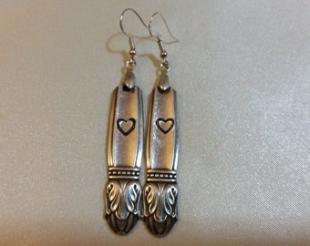 Spoon Jewelry Hand Stamped w hearts OOAK Med-Long Spoon Earrings Actual Photo 1930s Recycled Silver Plated Vintage unique hostess gift boxed