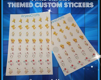 """Final Fantasy Themed Printed Stickers - Chocobos & Moogles - 1"""" tall, 48 individual stickers (1 Sheet)"""
