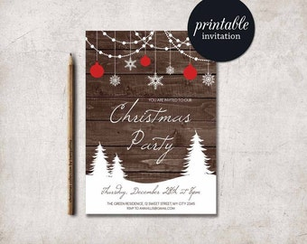 Christmas Invitation Christmas Party Invitation, Rustic Winter Invitation, Rustic Christmas Invitation, Printable Christmas Invitation