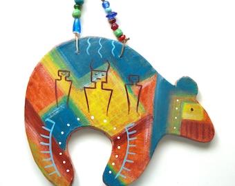 southwest Zuni bear spirit Native American Indian abstract rock art petroglyphs clay beads Santa Fe style New Mexico western cowboy cowgirl