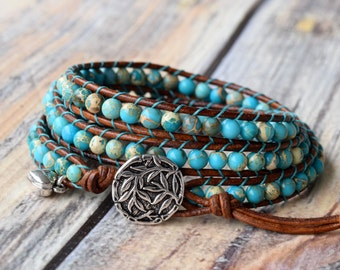 Turquoise Wrap Bracelet, Jasper Turquoise With Brown Leather, Beaded Leather 3 Wrap, Wrap Bracelet, Bracelet Wrap, Leather Wrap Bracelet
