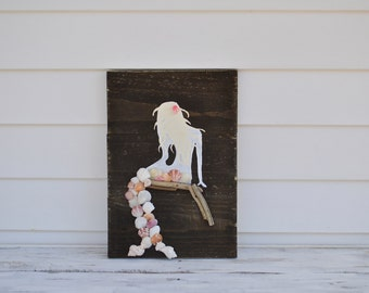 rustic wooden mermaid sign - pink -