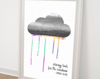 Rainbow Baby - Winnie the Pooh Quotes - Printable Kids GIft - Gift idea under 20 - Typography Art - Printable Quotes - Nursery Wall Art