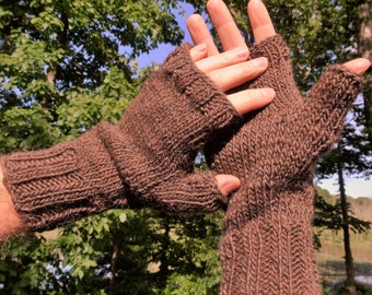 Fingerless Gloves Men's Hand Knit Brown Merino Wool & Mohair Hand Warmers Men's Knit Fingerless Gloves Brown Wool Mohair Hand Warmers Gloves