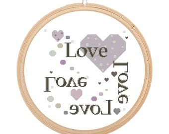 Heart lovecross stitch Shabby pattern, withe grey and lavander heart and love. Modern and original cross stitch pattern. Alphabetic pattern