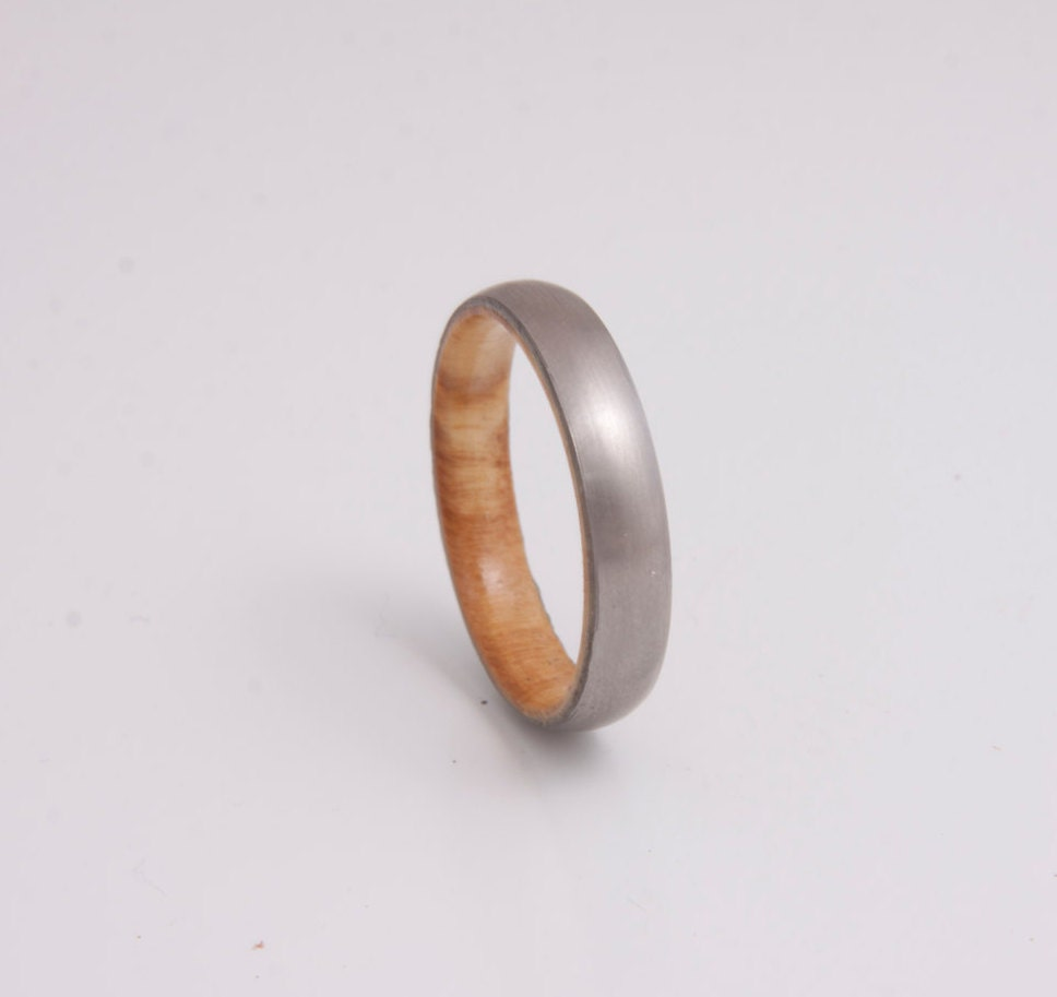 olive wood ring titanium band mens wedding wood ring. Black Bedroom Furniture Sets. Home Design Ideas