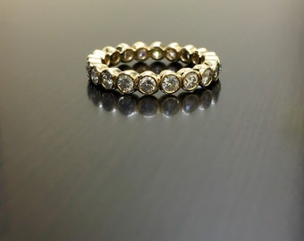 18K Yellow Gold Eternity Diamond Engagement Band - 18K Gold Diamond Wedding Band - Stackable Diamond Band - 18K Diamond Band - Gold Band
