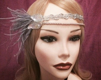 1920's inspired iridescent rose gold sequin silver flapper headband head piece headpiece hair gatsby 1920s girl ostrich feather ivory (616)