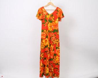 HAWAIIAN 60s VINTAGE Womens Au 8 10 Us 4 6 Maxi Flowers FRANGIPANI Floral Souvenir Orange Yellow Green Made In Hawaii Dress