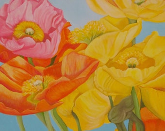 Poppies- Original oil painting on linen canvas
