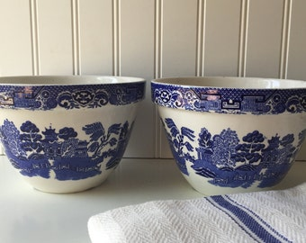 Staffordshire Stoneware Bowls, Vintage Ironstone, Old English Transferware, Pottery, Cobalt Blue and White, Set of Two, Made in England