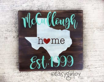 Hand painted Texas Home Established Repurposed Rustic Wooden Sign shabby chic