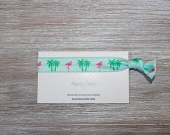 Flamingo Palm Tree Mint Green Hair Tie