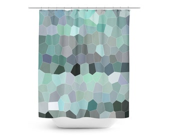 Shower Curtain, Geometric Shower Curtain, Mosaic Shower Curtain, Bathroom Decor, Blue Green Bathroom, Abstract Art, Modern Bathroom