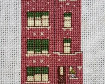 Chicago Red Brick Three Flat Cross Stitch