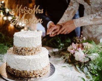 Custom Cake Topper, Name Cake Topper, Gold Gake Topper, Personalized Topper, Mr And Mrs Cake Topper, Wedding Cake Topper, Cake Topper