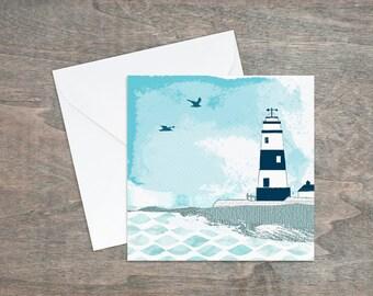 Blue Lighthouse Card - Seaside Blank Card - Nautical Stationery - Coastal Blank Card - White Lighthouse Card - Beach Card