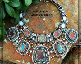 Seed Bead Embroidered Statement Necklace. Egyptian style necklace. Beads and natural stones necklace.