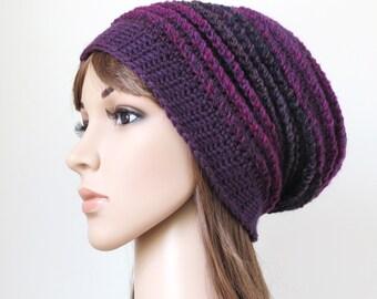 Purple Wool Hat, Women's Winter Hat, Boho Crochet Beanie, Teen Girl Slouch, Magenta Oversized Dark Plum Slouchy Beanie, Lavender Beanie