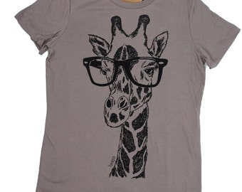 Womens T Shirt | Womens Graphic Tee | Giraffe Tee | Screen Print Hipster TShirt | Short Sleeve Animal Geek T-shirt | Giraffe T Shirt Ladies