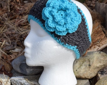 Headband - charcoal gray with turquoise flower