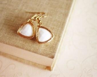 Gold Framed White Alabaster Glass Drop Earrings, Gold Triangle Geometric Earrings, Faceted Gem Stone Dangle Earrings
