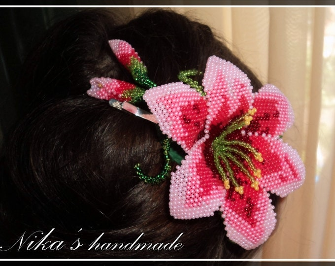 Beaded hair accessory clip pink lily flower, seed bead hair clip, Wedding Barrette, jewelry gift idea