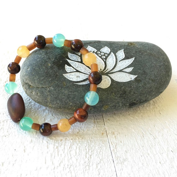 Natural Boho Stretch Bracelet, Unique Boutique Jewelry, Bohemian Jewelry, Stacking Bracelets