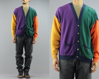 90's Casual Basics Mens Oversized Color Block Knit Cardigan Jumper / Sweater.