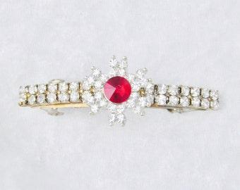 Red crystal and Rhinestone Flower Snowflake Hair Barette, Hair Clip