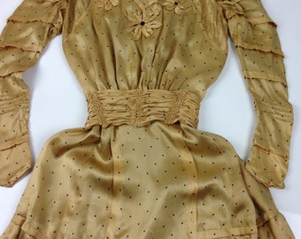Edwardian Silk Dress with Floral Silk details and High Lace Collar