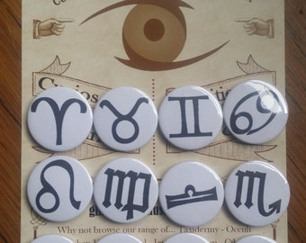 Astrology zodiac horoscope symbol badges / buttons