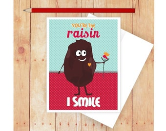 Raisin Card, Funny Greeting Card, Congratulations Card, Blank Note Card, Funny Food Pun, Cute Thank You Card, Appreciation Card