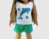 "18"" Doll Clothes, American Girl Doll Clothes, White Tank Top, Shorts and Friendship Bracelet"