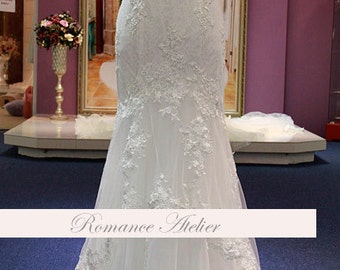 Lace, Floral, Wedding Gown, Lace, Bridal Gown, White, Ivory, Weddings, Chapel, Dramatic, Train, Tulle, Strapless