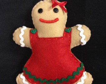 Felt Gingerbread Girl Christmas Decoration