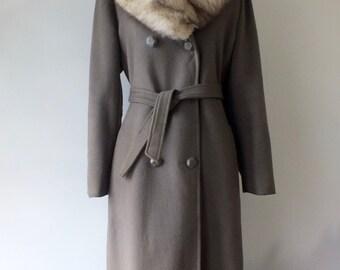 1970s wool coat with fur collar + Vintage long winter coat