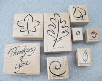 Craft Supplies ~ 'Festive Fall'  Set/8   Stampin Up   Wood mounted  2001   Great for Fall Autumn!