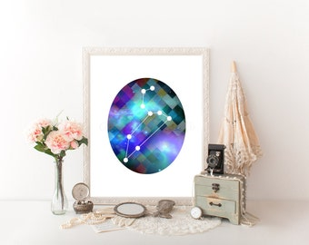 Leo Zodiac, Leo Art, Leo Digital Download, Leo Printable, Leo Print, Leo Constellation, Horoscope Décor, Leo, Leo Astrology, Astrology  0274