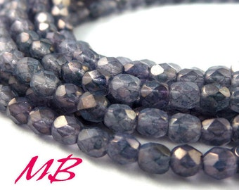 4mm Luster Stone Grey Faceted Glass Beads, Czech Fire Polished 4mm
