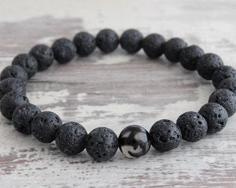 Boyfriend Gift Mens Bracelet  Lava Stone Bracelet Mens Gift Black Bracelet Dad Gift Mens Beaded Bracelet Son Gift Brother gift Boy Gift