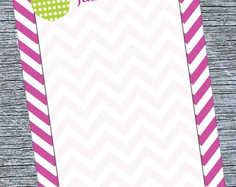 Teacher Chevron Notepad, Personalized Memo Pad for Teacher, A Note From Notepad, Green Apple Teacher Notepad, Personalized Notepad Teachers