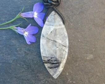 Navette pendant tourmaline quartz