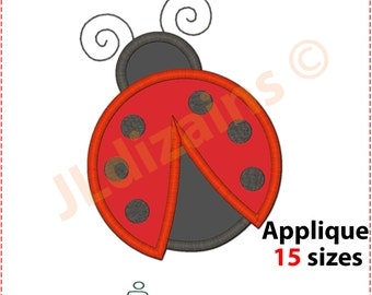 LADYBUG applique design. Machine embroidery design - INSTANT DOWNLOAD - 15 sizes Ladybird applique design Ladybird embroidery