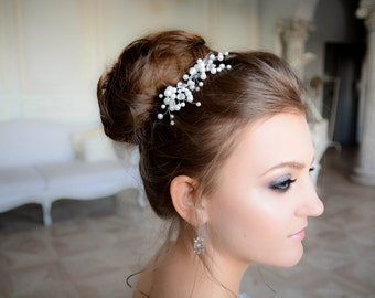 Bridal hair pin - Crystal and Pearl Bridal hair pin - Crystal and Pearl Bridal headpiece -  Wedding headpiece - Jeweled headpiece